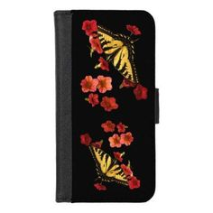 Butterflies on Red Flowers iPhone 8/7 Wallet Case - unusual diy cyo customize special gift idea
