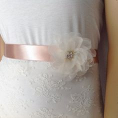 Sash, Bridal Wedding Dress Sash Belt, ivory flower rhinestone sash, wedding gown sash, Silk Flower Sash, Wedding Belt, Blush Bridal Belt
