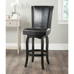 Safavieh Massimo Black/ Black Seat Bar Stool | Overstock.com Shopping - Great Deals on Safavieh Bar Stools