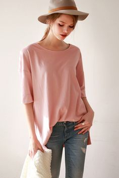 We're absolutely confident that you need this top in your life! It features solid color, round neck,  half sleeve. Pair it with skinny pants for a casual look.