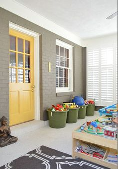 Young House Love - One young family + one old house = love. - Part 2 Door color option? Exterior Paint Colors For House, Paint Colors For Home, Exterior Colors, Gray Exterior, Paint Colours, Sunroom Playroom, Playroom Storage, Storage Bins, Painted Brick Exteriors