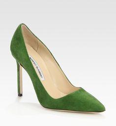 Manolo - green suede