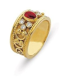 Custom Made Domed Ruby And Diamonds Byzantine Influence Meval Wedding Gold Hands Eternity