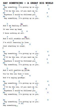 piano music Read A great big world - Say something from the story Chords & Lyrics (Ukulele, Piano, guitar, Whatever) by HaruCookieK. Ukulele Songs Popular, Ukulele Songs Beginner, Easy Guitar Songs, Uke Songs, Guitar Songs For Beginners, Piano Noten, Guitar Chords And Lyrics, Ukulele Chords Easy, Simple Guitar Chords
