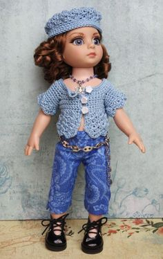"""~A ViSioN in BLuE~...one of a kind outfit + JEWELRY for Tonner Patsy, Ann Estelle, or Sophie 10"""" DoLLs. Newly created in porcelain blue tones and at my ebay now. Buy it now if you love blues! And if you need a dolly outfit of course. Consists of the hand crocheted top, the beret or hat, and the little capris. The hip belt and necklace are handcrafted also, and come with this. Click the picture to take you there."""