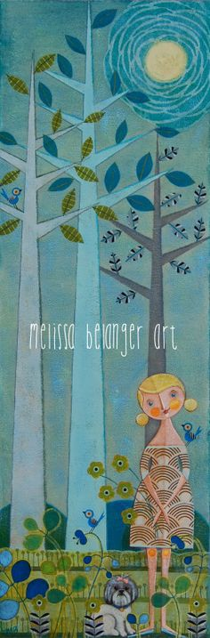 """""""Karin & Sophie"""", mixed media acrylic painting by Melissa Belanger, 12""""x36"""""""