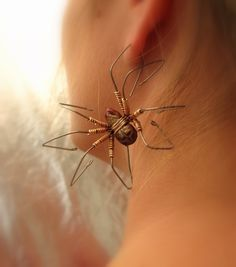 Spider earring large titanium dangle