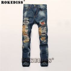 >> Click to Buy << Distressed jeans 2017 Autumn And Winter New personality Patch Hole Straight pants Tide male Slim cowboy trousers Light blue C196 #Affiliate
