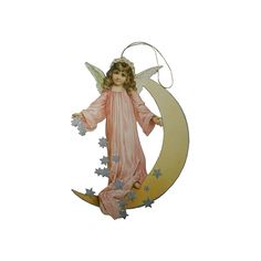 Angel & Moon Ornament Card ~ Pink