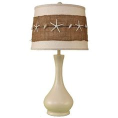 Solid Cottage Smooth Genie Bottle Table Lamp with Burlap and Starfish Shade Seashell Crafts, Beach Crafts, Theoule Sur Mer, Nautical Lamps, Nautical Lighting, Nautical Design, Deco Marine, Beach Room, Beach Lamp