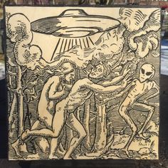 Entfuhrentanz Die Flucht Medieval UFO Alien Print by CoreyPress
