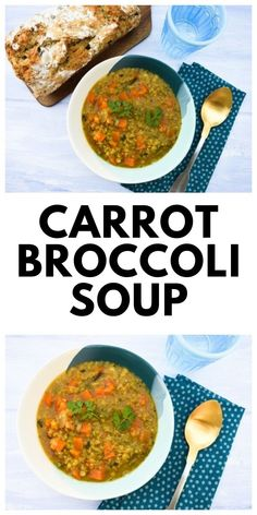 This carrot and broccoli soup is thickened with red lentils for a hearty meal and served with black olive beer bread. A typical Scottish soup to warm you up. Hearty Vegetable Soup, Vegetable Recipes, Vegetarian Recipes, Healthy Recipes, Broccoli And Carrot Soup, Carrot And Lentil Soup, Burns Night Recipes, Easy Cooking, Cooking Recipes