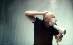 underwater, hair dryer, bald-headed
