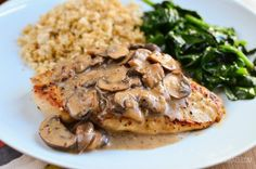 Slimming Eats Chicken with Creamy Mushroom Sauce - gluten free, dairy free, paleo, Slimming World and Weight Watchers friendly Lactose Free Recipes, Ww Recipes, Cooking Recipes, Healthy Recipes, Gluten Free, Chicken Recipes, Dinner Recipes, Healthy Chicken, Slimming World Dinners