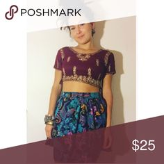 Sparkly Maroon Crop Top This vintage Indian crop top is absolutely gorgeous! Wear with a pretty skirt or high waisted shorts🦋 size small. Excellent condition. Vintage Tops Crop Tops