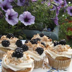 Sweet 'n Salty Coconut Blackberry Cupcakes | Made Just Right by Earth Balance vegan plantbased