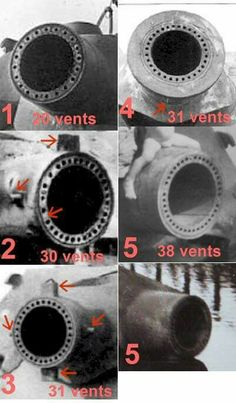 The different types of vented gun barrel designs on a Sturmtiger