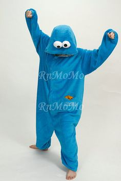 KIGURUMI Cosplay Romper Charactor animal Hooded Nightclothes Pajamas Pyjamas Costume sloth Onesie outfit Sleepwear-Cookie Monster on Etsy, $53.61 CAD