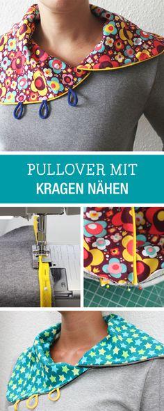 DIY-Anleitung: Kreativen Kragen für Pullover nähen / DIY tutorial: sewing creative collar for pullover via DaWanda.com