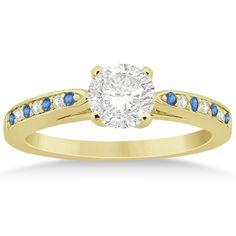Blue Topaz & Diamond Engagement Ring 14k Yellow Gold 0.26ct