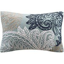INK+IVY Kiran Oblong Pillow with Chain Stitch, Blue