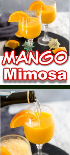 Nothing can brighten the mood quite like a mimosa! This is no ordinary mimosa drink recipe, this drink has the sweet taste of mangos to add a tropical feel. Say good-bye to orange juice, MANGO is the way to go! Prosecco And Orange Juice, Prosecco Drinks, Fun Cocktails, Fun Drinks, Yummy Drinks, Cocktail Recipes, Drink Recipes, Vegan Recipes, Alcohol Recipes