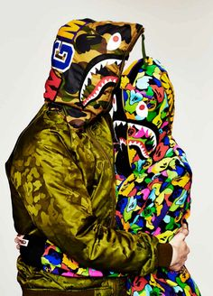 BAPE wgm shark zip camouflage jacket for him and her.