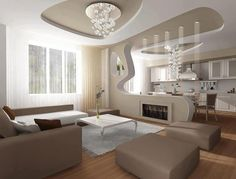Cool pop ceiling designs for long narrow living room with white sofa ...