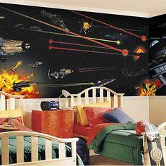 Star Wars Wall...All I gotta Do Is Find a Print Like That...Hmm
