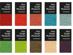 Multicoloured logos and footprint designs for Van Gogh Museum, Amsterdam