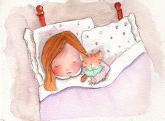 Nursery Decor - Childrens Art - Now I Lay Me Down To Sleep - Orginal Watercolor Illustration