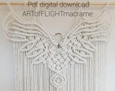 Macrame kit and pattern / DIY make your own macrame eagle wings tapestry tutorial and kit Macrame Wall Hanging Patterns, Macrame Patterns, Woven Wall Hanging, Wall Patterns, Knitting Patterns, Crochet Patterns, Canvas Patterns, Quilt Patterns, Weaving Patterns