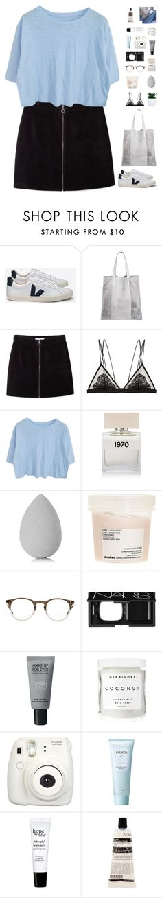 """""""Pastel blue"""" by f-resh ❤ liked on Polyvore featuring Veja, Merona, MANGO, Cosabella, Bella Freud, beautyblender, Davines, Oliver Peoples, NARS Cosmetics and MAKE UP FOR EVER"""