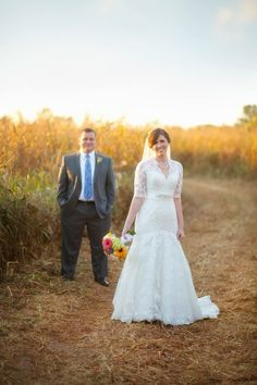 Gorgeous fall wedding. Corn field + gorgeous bride and groom. Owen Farm, Chapmansboro, Tennessee. Photo by Krista Lee www.kristaleephotography.com