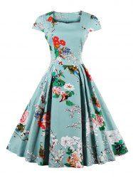 Retro Cape Sleeve Floral Print Sweetheart Neck Flare Dress (LIGHT BLUE,2XL)   Sammydress.com Mobile