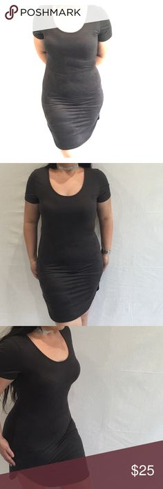 Black suede dress NOT FROM BRAND LISTED, ONLY USED FOR EXPOSURE.   Black suede dress, sides are shorter than the front/back, as shown in photo 3. •BUNDLE AND SAVE 10%! Fashion Nova Dresses