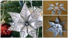 This paper star ornament gives a nice glittery pop of festivity! With a little bit of folding skills and some glue, you can create this ornament with ease! Y...