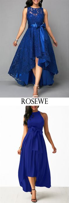 High Waist Belted Lace Panel Maxi Dress.#Rosewe#dress#womensfashion