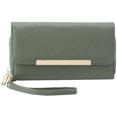 Charlotte Russe Gold-Tipped Double Zipper Wristlet Wallet (245 MXN) ❤ liked on Polyvore featuring bags, wallets, olive, green wallet, zipper wallet, double zipper wallet, green wristlet and zip wristlet