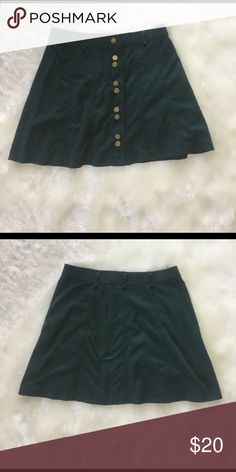 Zara high-waisted faux suede skirt Dark green with gold buttons, lightly worn, perfect condition Zara Skirts Mini