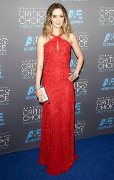 Emily Blunt in a red lace embellished Emilio Pucci dress with jewelry by Lorraine Schwartz, Critics' Choice Awards, January 2015