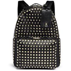 Valentino 'Rockstud' medium stud leather backpack ($3,250) ❤ liked on Polyvore featuring bags, backpacks, bolsas, valentino, black, leather studded backpack, evening bags, black rucksack, leather rucksack and leather backpack