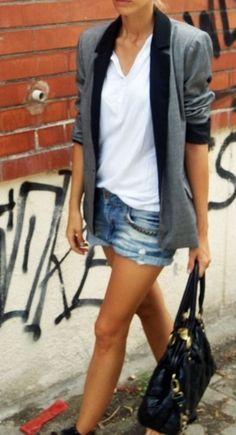 blazer, plain white t shirt, jean shorts, simple and modern, classic and modern, chic and classic. classy and casual
