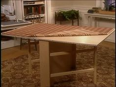 Martha Stewart and Tom Tamburello build a Gate Leg Sewing Table using plywood, piano hinges and screws. They construct a compact table that easily folds away for storage.