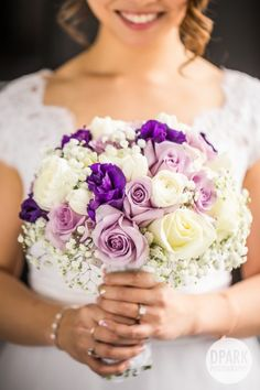 Beautiful elegant romantic bride bridal bouquet with shades of purple and ivory flowers Purple Wedding Bouquets, Bride Bouquets, Bridal Flowers, Bouquet Flowers, Wedding Dresses, Wedding Flower Guide, Floral Wedding, Wedding Colors, Wedding Ideas