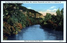 Big Piney river as viewed from the bridge on OLDER 66 at Devil's Elbow, MO near Hooker Cut