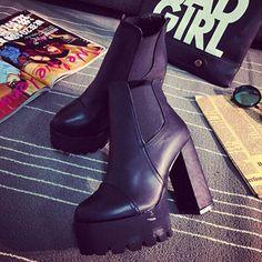 British Style Thick High-heeled Platform Round Toe Martin Booties