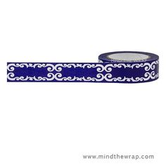 Silver Foil and Navy Blue Flourish Washi Tape - 15mm x 10m -  Deep Blue with Shiny Silver