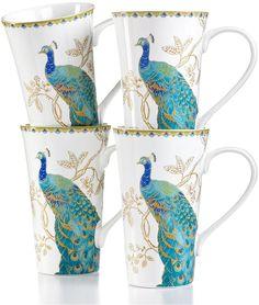222 Fifth Set of 4 Peacock Garden Latte Mugs   | ≼❃≽ @kimludcom