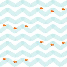 Gold Fish fabric by natitys on Spoonflower - custom fabric    I want to do this in our guest bathroom